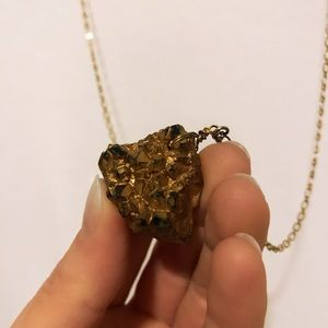 VTG Long Gold Stone Nugget Necklace